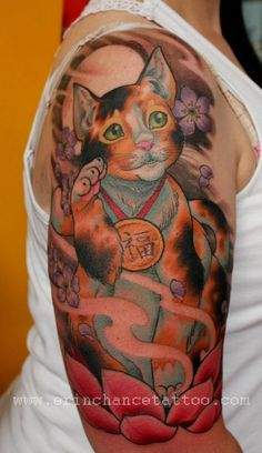 Lucky Cat Tattoo by Erin Chance