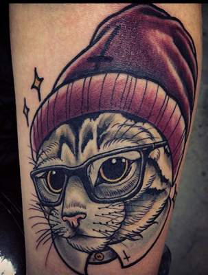 Hipster Satan Cat Tattoo