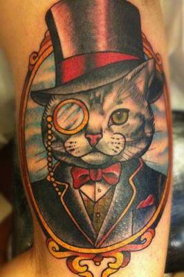 Victorian Portrait Tattoo | Cat Tattoo