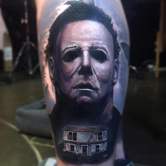 Michael Meyers horror tattoo by Paul Acker